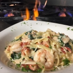 Fresh Georgia shrimp & Maine Lobster sautéed with spinach tossed with Marsala cream and fettuccine.