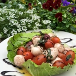 Fresh Mozzarella Ciliegine with grape tomatoes, fresh basil, kalamata olives, extra virgin olive oil and aged balsamic reduction served on Romaine.